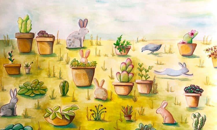 illustration bunnies in the garden