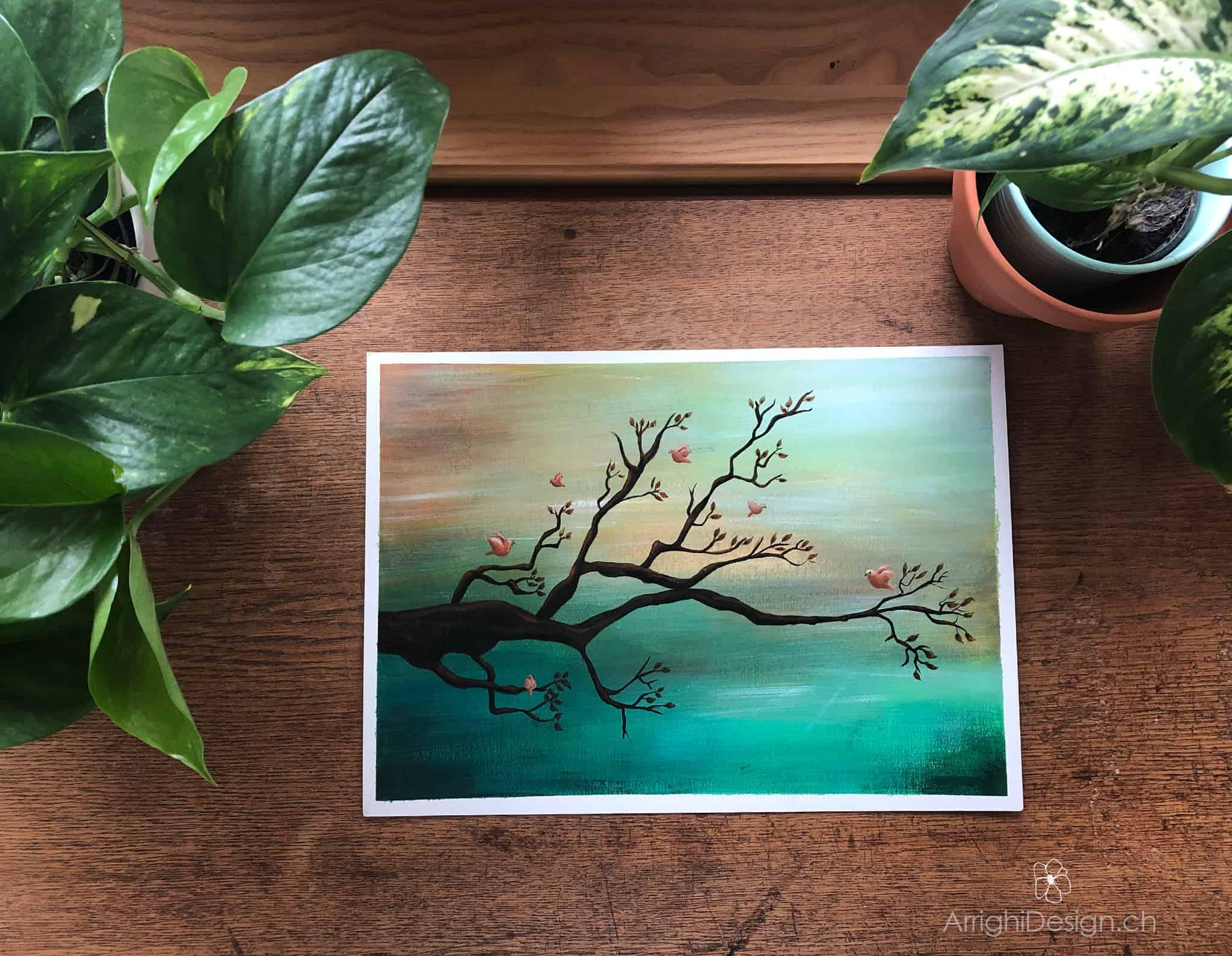 acrylic horizontal painting tree spring birds