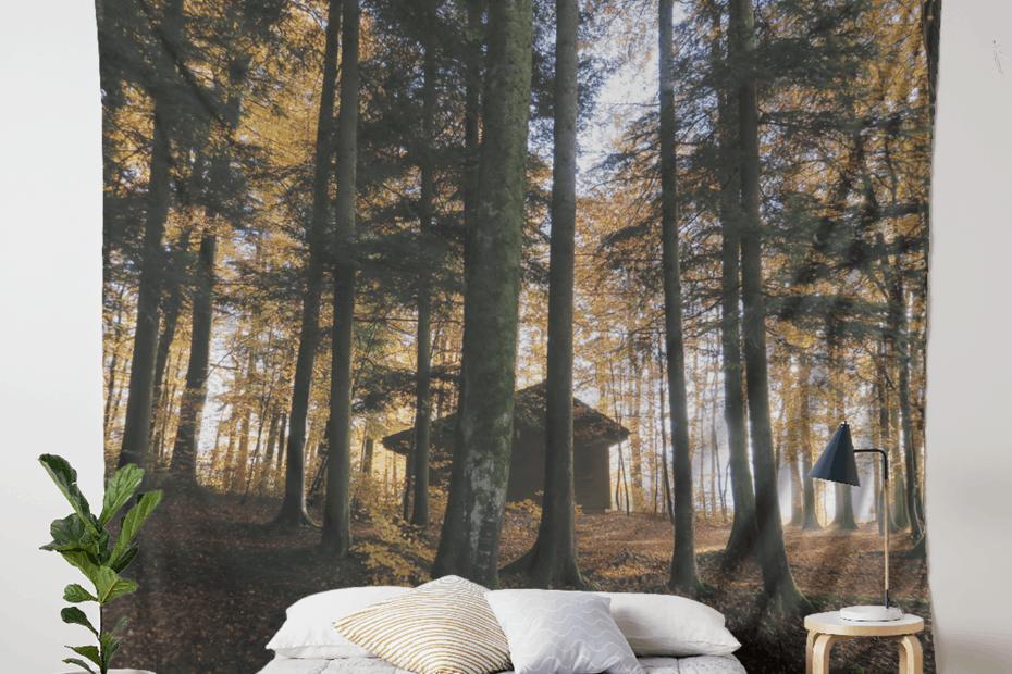 interior decoration forest wallpaper