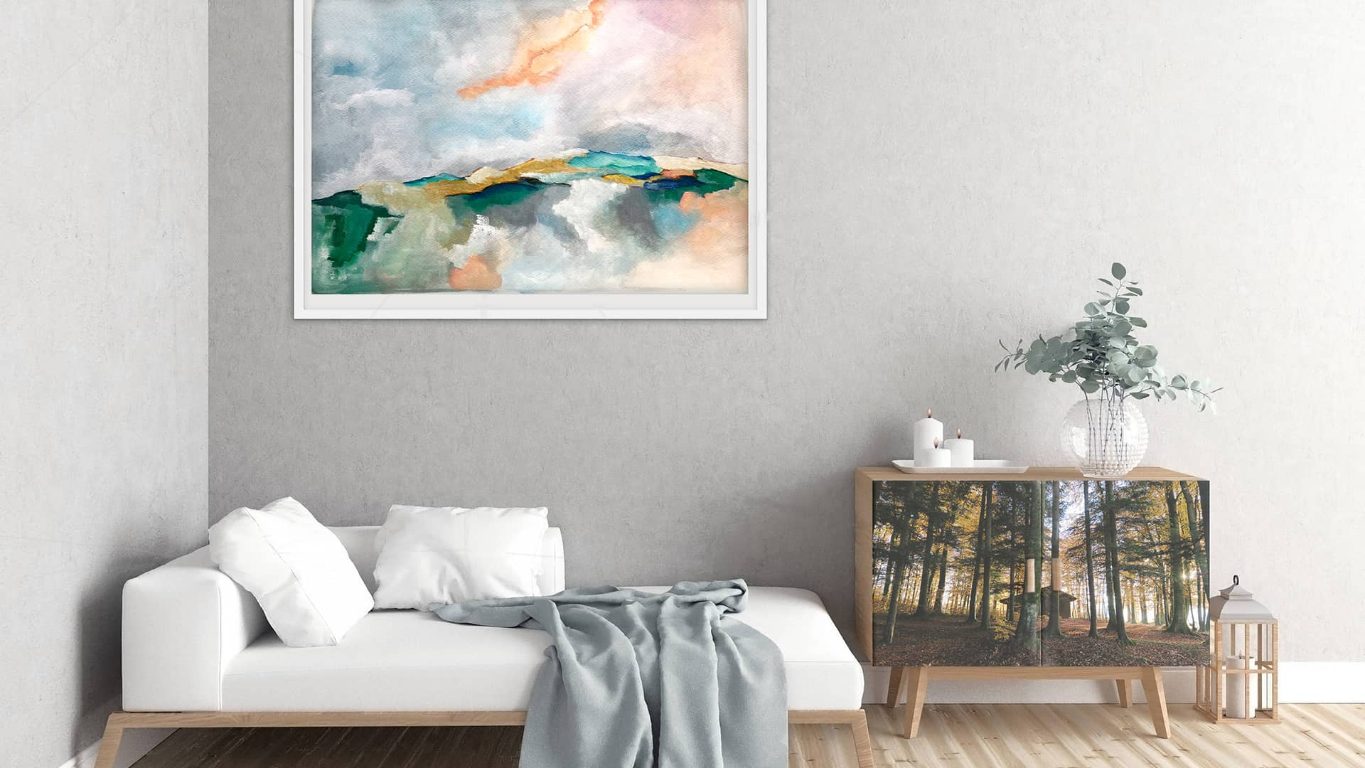 interior decoration project with original paintings and pictures