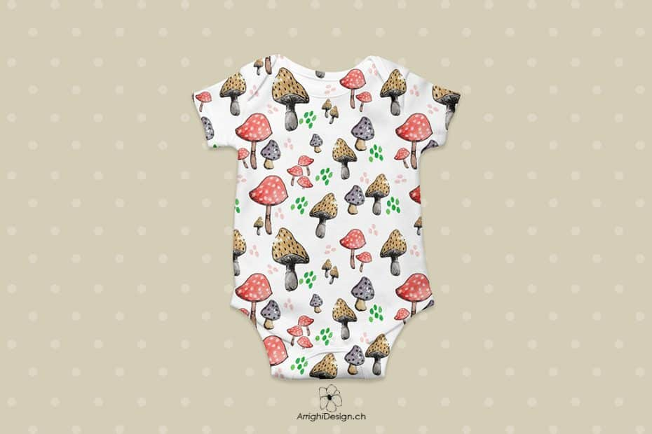 simple white baby body with mushrooms