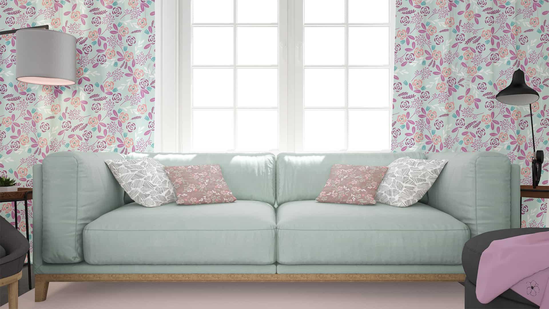 progetto di salotto con tende e cuscini