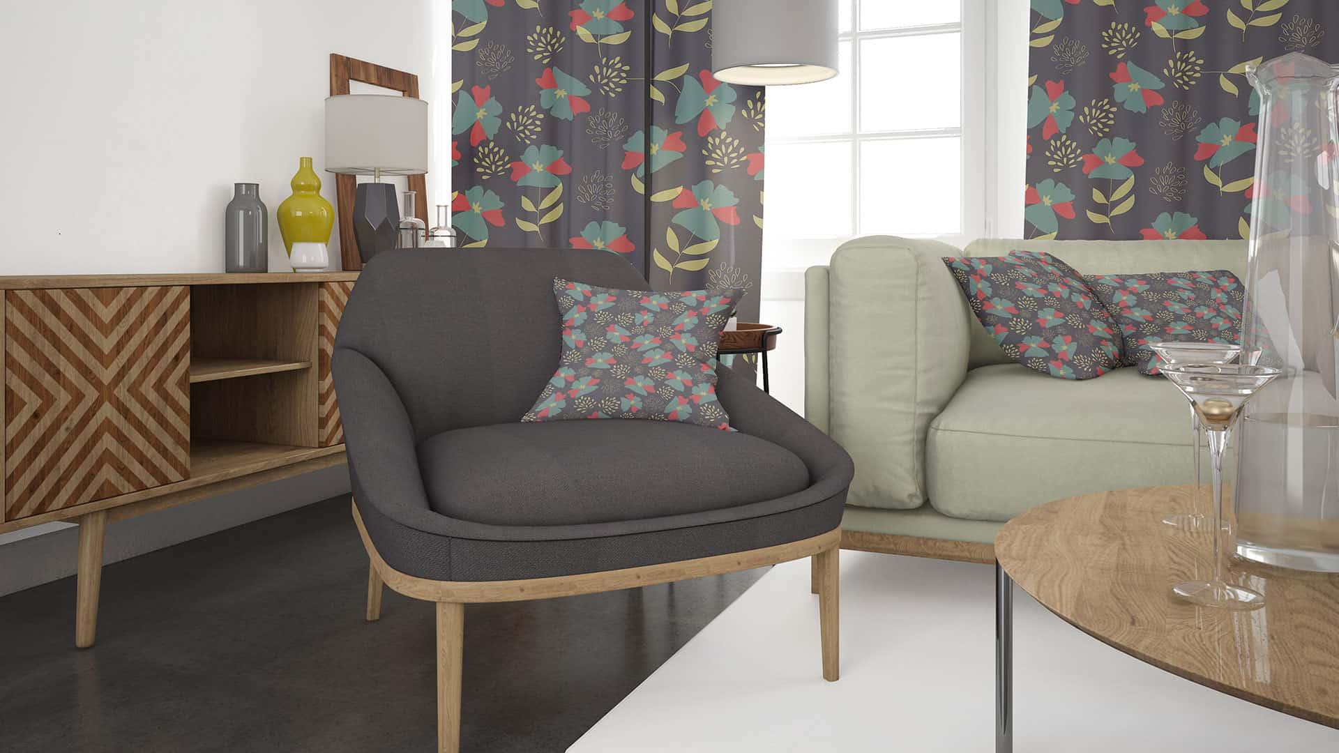 progetto di soggiorno con poltrona nera e sofa