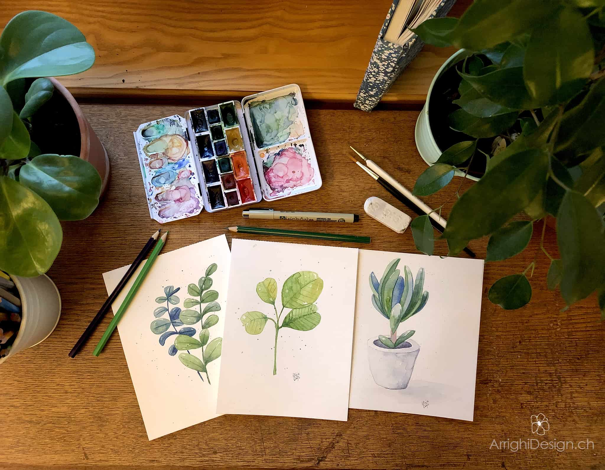 illustrations made with watercolors