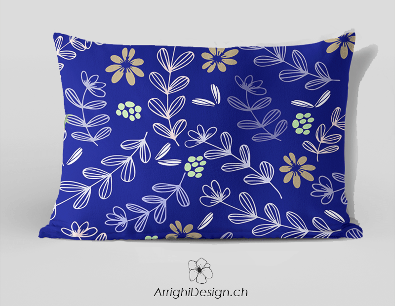 floral pattern fabric on a blue pillow
