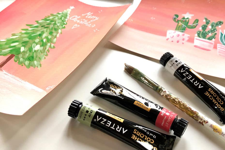 Postcards, mini posts or greeting cards in gouache