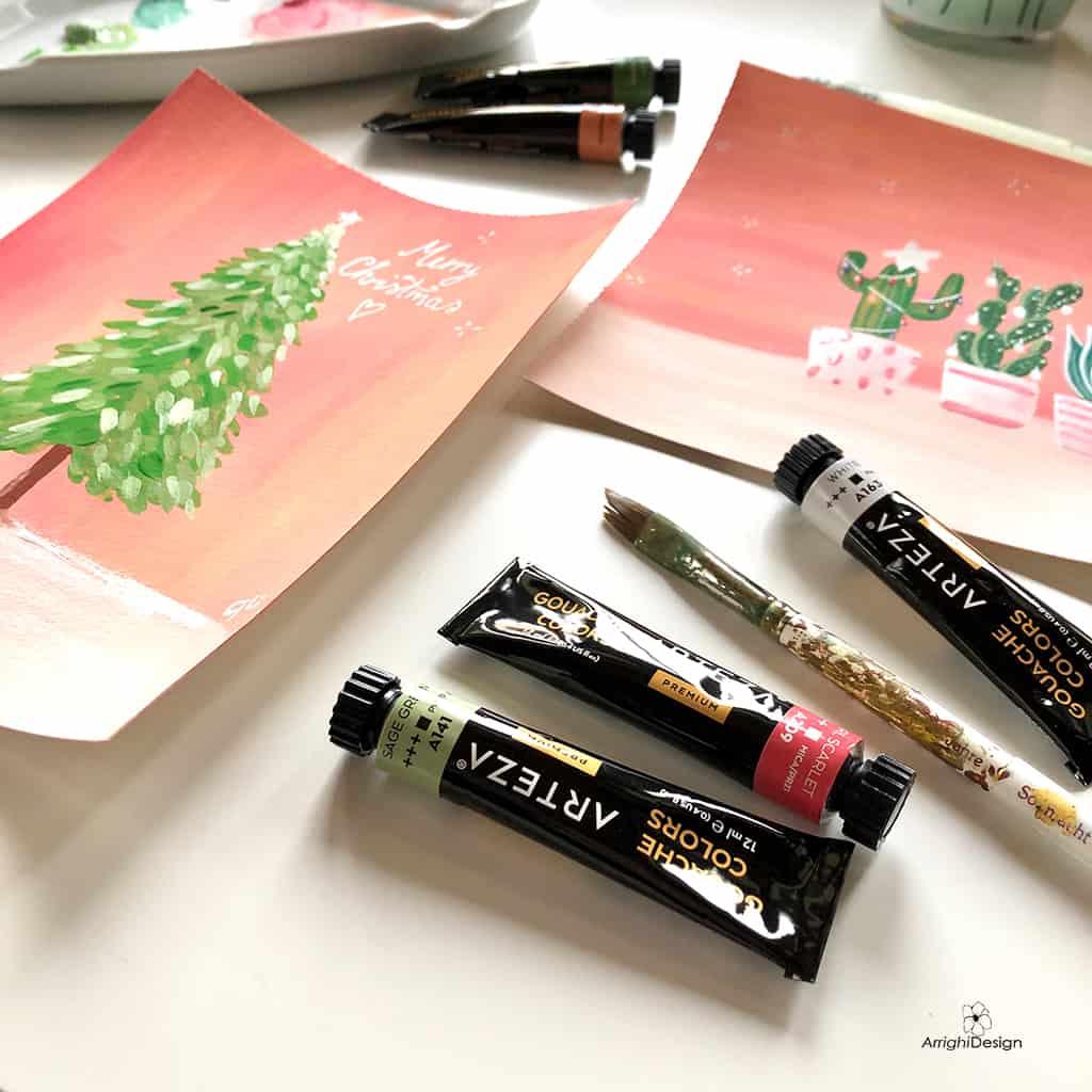 gouache per bricolage natalizio